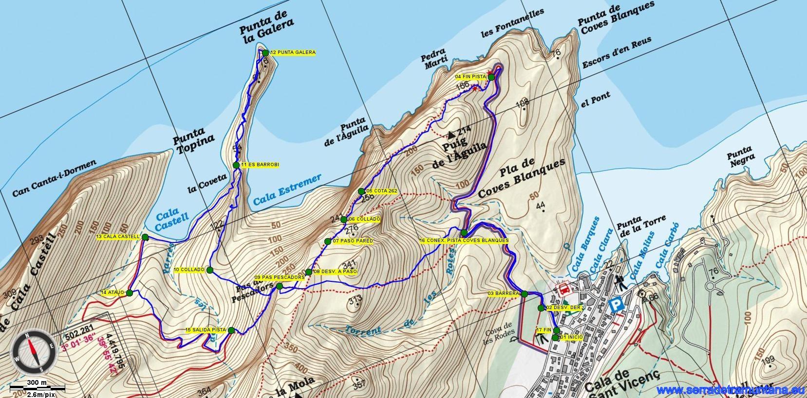 Recorte del mapa de Alpina de Caps del Nortd de Mallorca (Formentor-Pinar-Ferrutx) con la ruta realizada y los puntos de  paso más importantes.