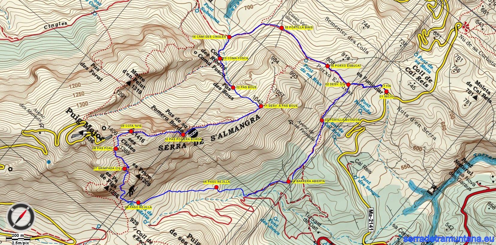 Recorte del mapa de Alpina con la ruta realizada y los puntos de interés