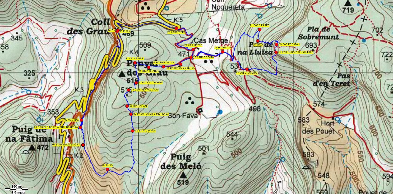 Mapa con el trazado de la ruta
