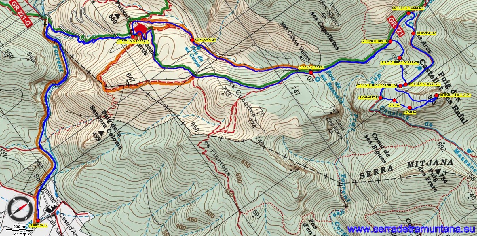 Recorte del mapa de Alpina con la ruta de hoy